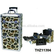 2014 new design cosmetic trolley with giraffe pattern as skin
