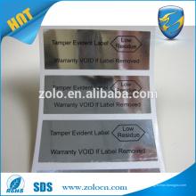 Impresión personalizada auto de plata PET PET impermeable VOID OPEN etiquetas de seguridad etiqueta de seguridad de envío