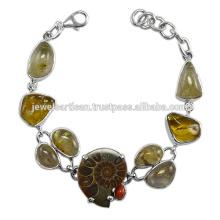 Beautiful Ammonite And Multi Gemstone 925 Sterling Silver Bracelet Jewelry