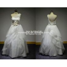 2016 alibaba wedding dress sleeveless applique lace one shoulder tiered dress import wedding dress BYB-15151