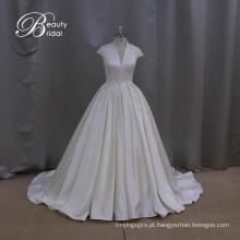 Elegante cetim frisado uma linha vestido de casamento