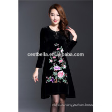 Custom Made Spring Autumn Fashion Vestido bordado de veludo para senhora elegante