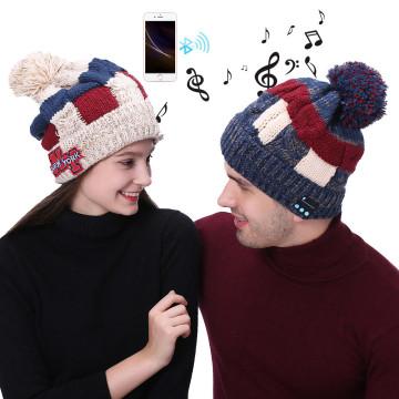 Stilvolle Winter warme Bluetooth-Mütze Strickmütze