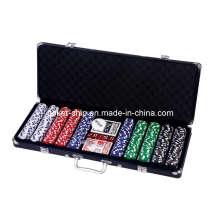 500PCS Poker Chip Set en boîtier en aluminium de couleur noire (SY-S45)
