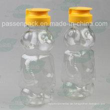 350g Bär Form Kunststoff Honig Flasche mit Non-Drip Silikon Ventildeckel (PPC-PHB-16)