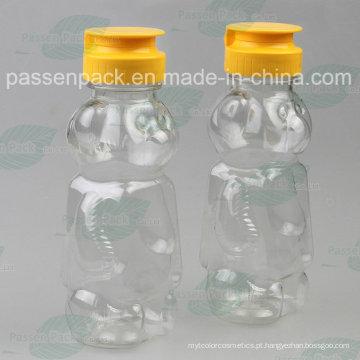 350g garrafa de plástico do mel da forma do urso com tampão da válvula do silicone do Non-Drip (PPC-PHB-16)