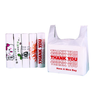 Stock plastic packaging bags/thank you bags/reusable and disposable grocery bag