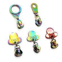 Fashion handbags and bags custom metal zipper slider hallow metal zipper puller for sale novel design metal zipper slider