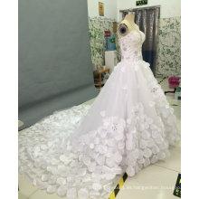 Vestidos de novia sin tirantes de la princesa con la flor cristalina del Rhinestone