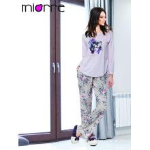 Miorre OEM Venta al por mayor de manga larga de manga larga impresas pijama elegante conjunto