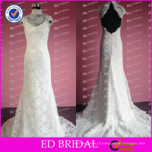 New Fashion Real Photos Lace Appliqued High Neck Wedding Gowns
