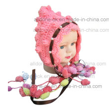 Newborn Hand Crochet Baby Hat with Lace and Beads