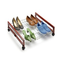 One Shelf Wire Shoe Rack with Wooden, Wheels