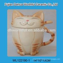 Cat design ceramic cup with lid & spoon