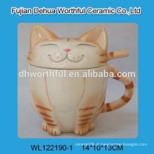 Gato design copo de cerâmica com tampa e colher