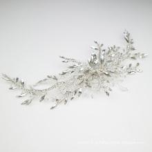 Novo design de acessórios de cabelo de cristal feitos à mão, grampo de cabelo de noiva, cocar de casamento para menina