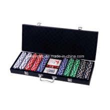 500PCS Poker Chip Set en étui en cuir noir (SY-S46A)