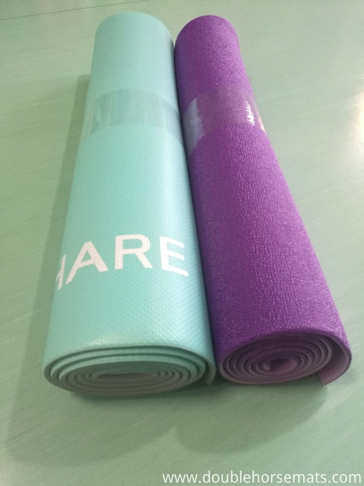 PVC double color embossed yoga mat
