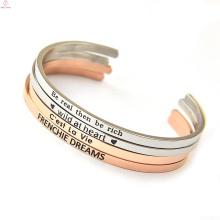 custom personalized bulk plain rose gold stainless steel bangle jewelry