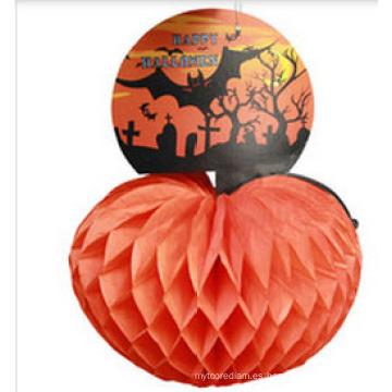 25 Cm Pieza central de la calabaza del papel seda del panal de Halloween del vintage