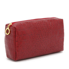 Bolsa de cosméticos feminina com estampa de pedra vermelha com padrão de pedra (YKY7518)