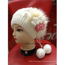 Новый дизайн моды стороны вязать цветок леди девушки Hat Beanie
