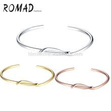 Wholesale OEM Gold Plated Pale Oval Copper & Natural Bangles Girl Bracelets