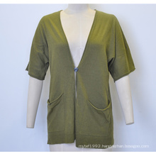 Spring Short Sleeve V-Neck Loose Knit Women Cardigan with One Button