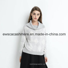 Jersey de cachemir Lady Turtle Neck con Fashion Intarsia