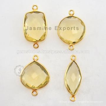 Природных драгоценных камней Разъемы позолоченная натуральный лимонный кварц Безель Установка для ювелирных изделий