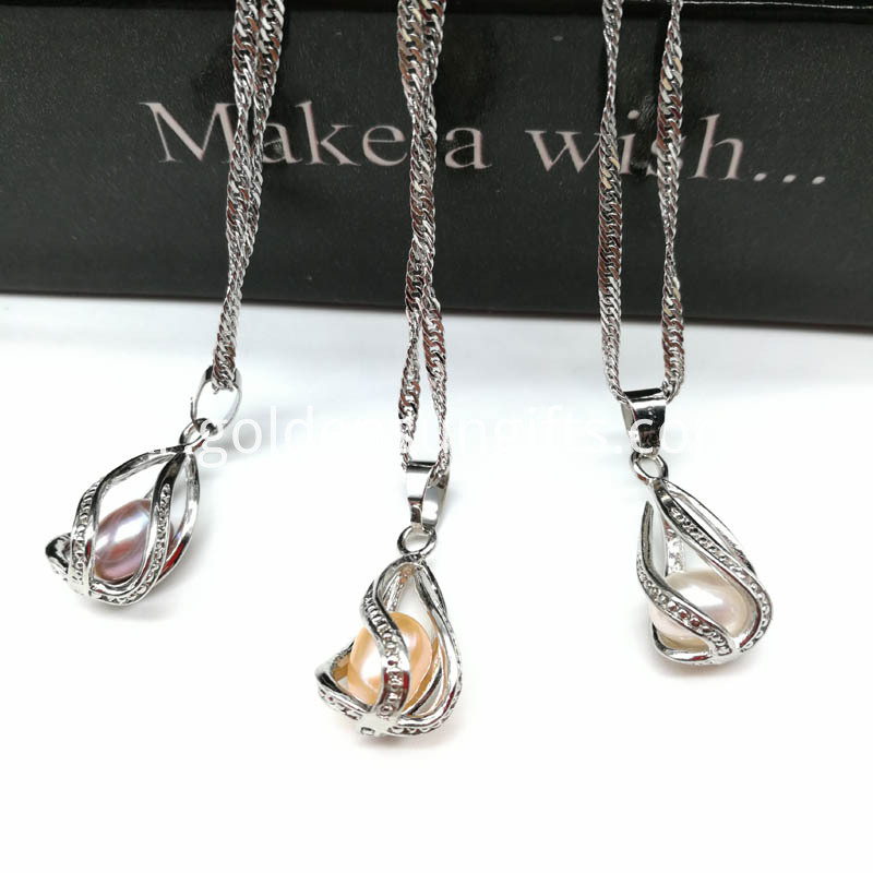 Water Drop Cage Pendant with Water Wave Chain Necklace