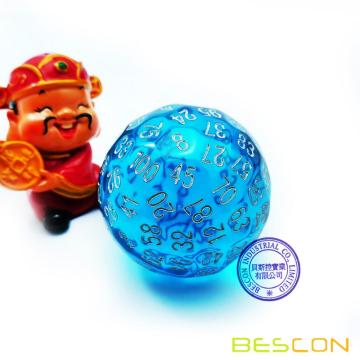 Bescon Translucent Blue Polyhedral Dice 100 Sides,  D100 dice, 100 Sided Cube, Transparent D100 Game Dice