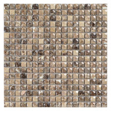 Indoor Wall Decorative Coffee Color Tumbled Marble Mosaic Tile