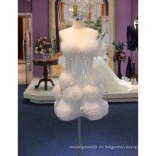 Nuevo vestido de boda corto de la llegada 2017 con la flor de las colmenas