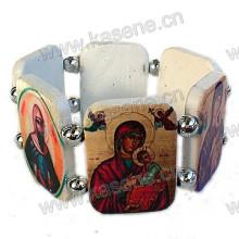 White Plastic Rosary Bracelet with Saint Fotos Changeable