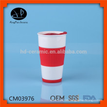Ceramic travel mug cup with plastic lid and silicone sleeve,wholesale ceramic keep cup coffee mug with silicone cover and lid