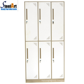 Sale well high quality student dormitory used 6 door iron wardrobe design