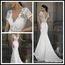 Beautiful Fashion Lace Crystal Pearls Sashes Sexy Wedding Dress