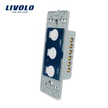 Livolo US Power Wall Écran Tactile Lumière Télécommande Sans Fil Interrupteur Base Board Electrical 110 ~ 220V 3 gangs 2 voies VL-C503SR