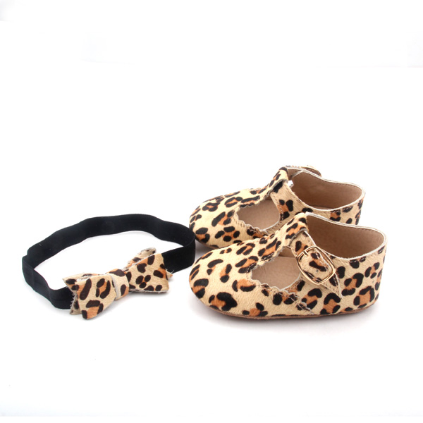 Mo Hair T Bar Leopard Baby Casual Shoes