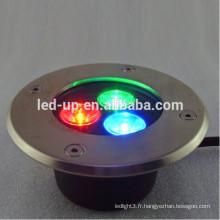 Lumière souterraine led 3w RGB avec lumens élevés