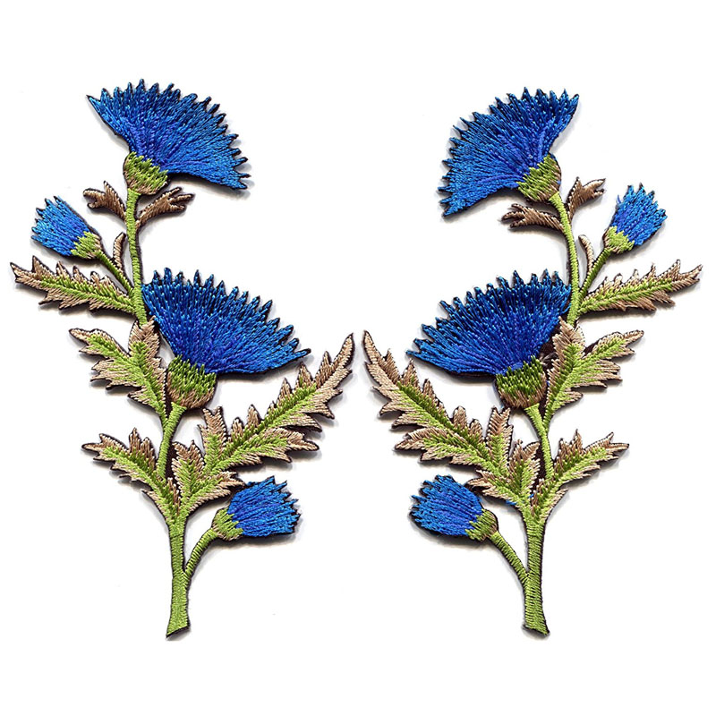 Blue Carnation Spray Thistle Pair Flowers Patches
