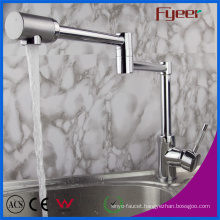 Fyeer Double Extension Arm Brass Kitchen Sink Faucet