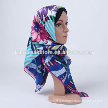 2014 100% silk blue flower stylish muslim hijab underscarf