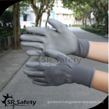 SRSAFETY high quality safety gloves/13g grey polyester palm coated PU men's working glove