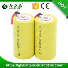 Al por mayor sc 1.2v 1200mah SC batería tapa plana con pestañas