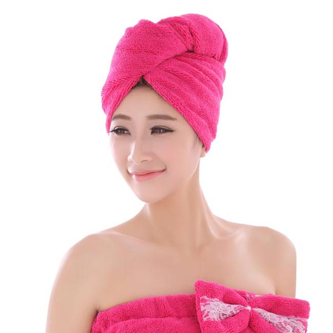 hair towel with button