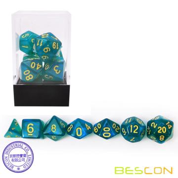 Bescon Moonstone Dice Set Azul pavo real, Bescon Polyhedral RPG Dice Set Moonstone Effect