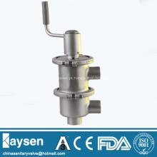 Válvula manual sanitária de desvio de fluxo tipo LL