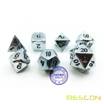 Bescon Super Shiny Gloss Silver Metal 7pcs Polyhedral Dice Set, Chrome Metal RPG Game Dice 7pcs Set